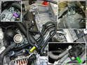 Shown here is the 996 starter / alternator harness (yellow) and relocated electrical junction box (green).