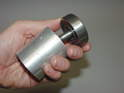 This photo shows how the new bearing and improved center stud fit into the bearing installation tool.