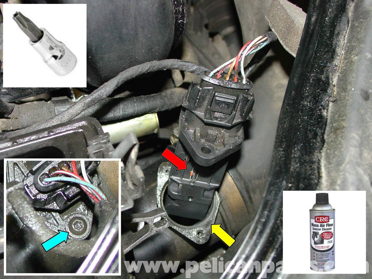 porsche boxster mass air flow sensor  maf  replacement and