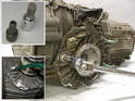 This photo shows a typical 5-speed Boxster transmission that has been removed from the car.
