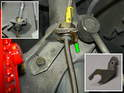 This photo shows the attachment of the new stainless steel brake line.