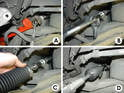 Shown here are several steps in the tie rod installation process.