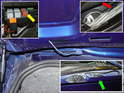 If your rear wing has an integrated 3rd brake light, then snake the cable down the side of the trunk inside the decklid.