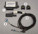 This photo shows the complete wiring kit that is required in order to install the factory Litronic headlamps.