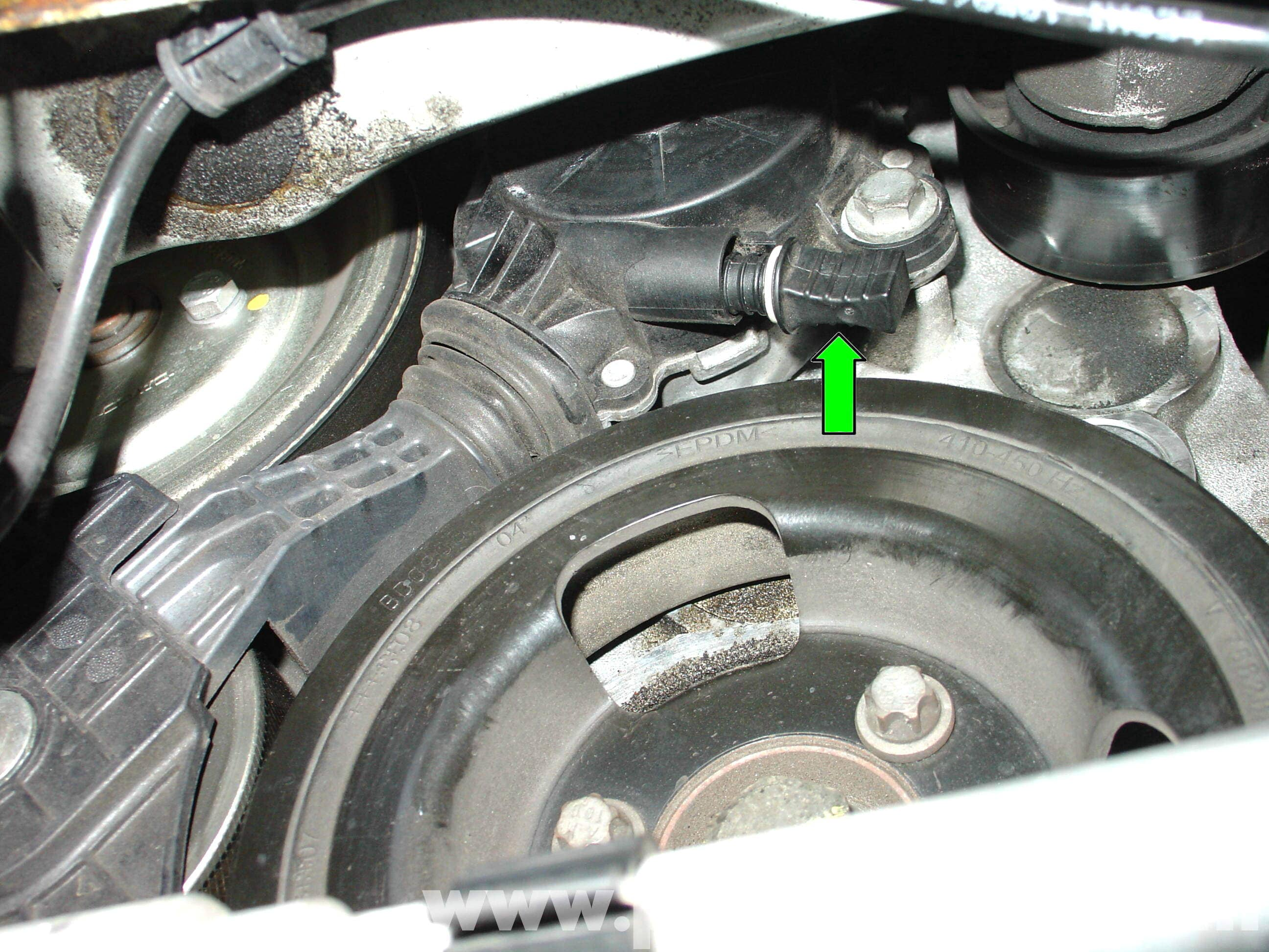 WATER Coolant Pump Replacement likewise I 24485773 Smog Pump Eliminator Kit Incl Alum Brackets Idler Pulley W Bearing Pulley Mounting Bolt Washer Chrome 1700a additionally Emergency Alternator Belt in addition  additionally 338054 Can I Bypass The A C  pressor With A Shorter Belt. on how to tell when you need a new serpentine belt