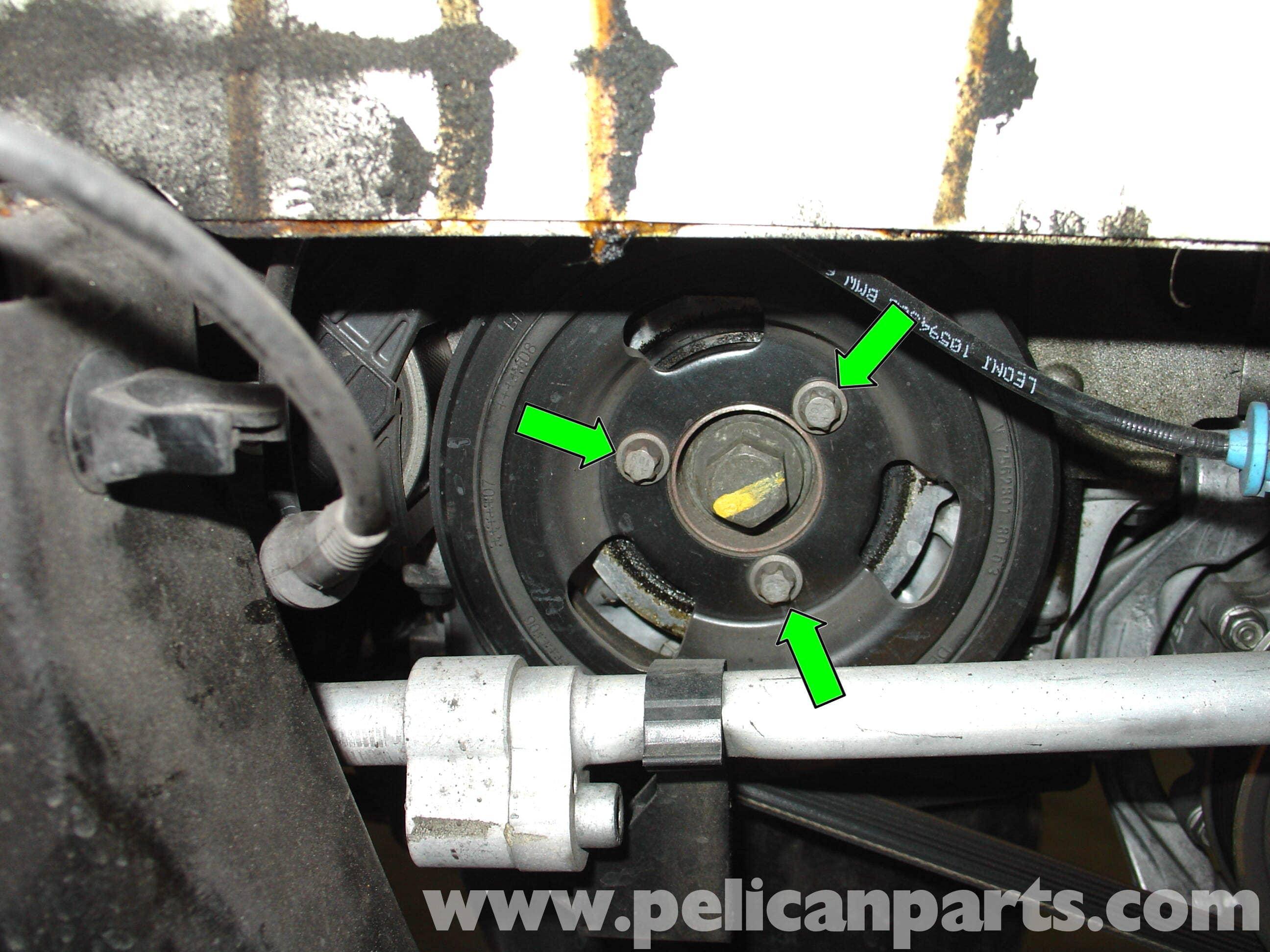 mini cooper crankshaft pulley replacement r50 r52 r53 2001 2006 rh pelicanparts com Mini Cooper Serpentine Belt Tool Mini Cooper S Belt Routing
