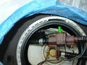 Carefully maneuver the fuel pump so you can access the main pressure line going to the fuel injectors.