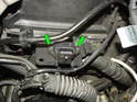 Remove the Allen screws holding the MAP sensor to the bracket underneath (green arrows).