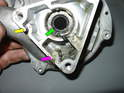 Here's a close-up of the inside of the water pump once disassembled.