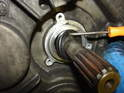 Use a small pick or other means to carefully pry the input shaft seal out.