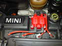 Shown here is the new MSD coil mounted in place with all the spark plug leads re-installed.