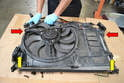 Lay the radiator down face first on your bench making sure not to damage the fins on the radiator.