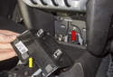 Pull the trim cover out of the instrument panel (yellow arrow).