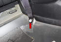 B-pillar trim: Slide the B-pillar trim panel up (red arrow) and remove it from the body.