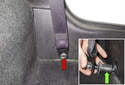Start by removing the seat belt anchor.
