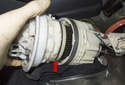 This photo shows the left side fuel unit with the level sender and integrated fuel filter.