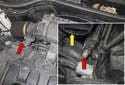 Models with normally aspirated engine: Locate the fuel rail test port (red arrows) at the right side of the fuel rail, just below the intake air housing outlet (yellow arrow).