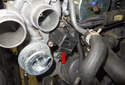 The turbocharger recirculation valve (red arrow) is mounted to the turbocharger.