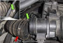 Intake: Pull the duct (red arrow) off the mass airflow sensor.