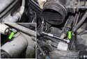 Intake: Remove the VANOS solenoid 10mm fastener (green arrows).