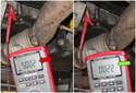 Now, check for the correct voltage on pins 1 and 2: Pin 1: 5 volts (red arrow), Pin 2 Ground, around zero volts (green arrow).