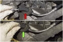 Then, pull the cable out (red arrow) and push it in (green arrow).