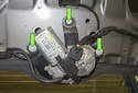 Then remove the three 10mm motor fasteners (green arrows).