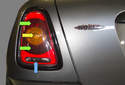 The taillight on R56 models houses most of the rear lights.