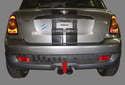 MINI R56 models use a plastic bumper cover over a rigid strut-supported bumper (red arrow).