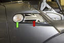 Side Marker Bulb: The side marker lens and bulb (green arrow) can be separated from the plastic mounting bracket.
