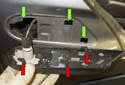 Side Marker Bulb: This photo shows the hooks (red arrows) that secure the lens to the holes (green arrows) in the fender.