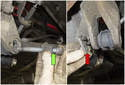Lower control arm: Remove the adjuster with the bolt from the trailing arm (green arrow).
