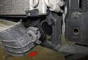 Remove the intercooler from the radiator support (red arrow).