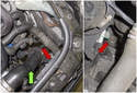 Left charge air duct: Working at the top of the engine, follow the duct (green arrow) down to the mount on the radiator shroud and remove the T20- Torx screw (red arrows).