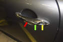 This tech article covers replacing the door handle (red arrow) and lock cylinder (yellow arrow) on a vehicle with comfort access.