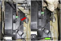 Working inside the door panel at the latch, pull the cable (red arrow) up and out of the mount.