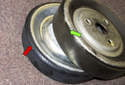 The rubber friction surface resembles a drive belt wrapped around the pulley.