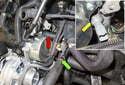 Oil pressure sensor: Start by loosening the oil pressure sensor (yellow arrow).