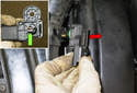 Boost sensor: Remove the sensor from the duct (red arrow).