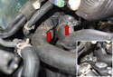 Working at the front thermostat hoses, use hose clamp pliers (inset) to remove the hose clamps (red arrows).