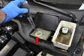 While you are squeezing the piston back into the caliper you will be forcing brake fluid back through the system and into the fluid reservoir.