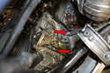 On the side the engine mount is attached to the alternator bracket and engine by four E12 Torx bolts, they are basically female Torx bolts (red arrows, two shown).