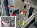 In this photo you can see all the fasteners you will need to remove to be able to pull the door lock/latch, vacuum element and pull lock from the door.