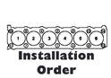 This illustration shows the order of installation and torque for the head studs.