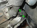 Shown here is the crankshaft position sensor as it is located in the engine block directly above the starter.