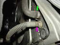 Now crawl under the front of the car and locate the bottom hose connections on the right (passenger) side of the car.