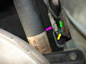 Underneath the car, you'll see the green bushing (yellow arrow) on the end of the lever.