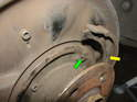 ThisPicture shows the slot in the backing plate where the retaining spring for the brake shoe attaches.