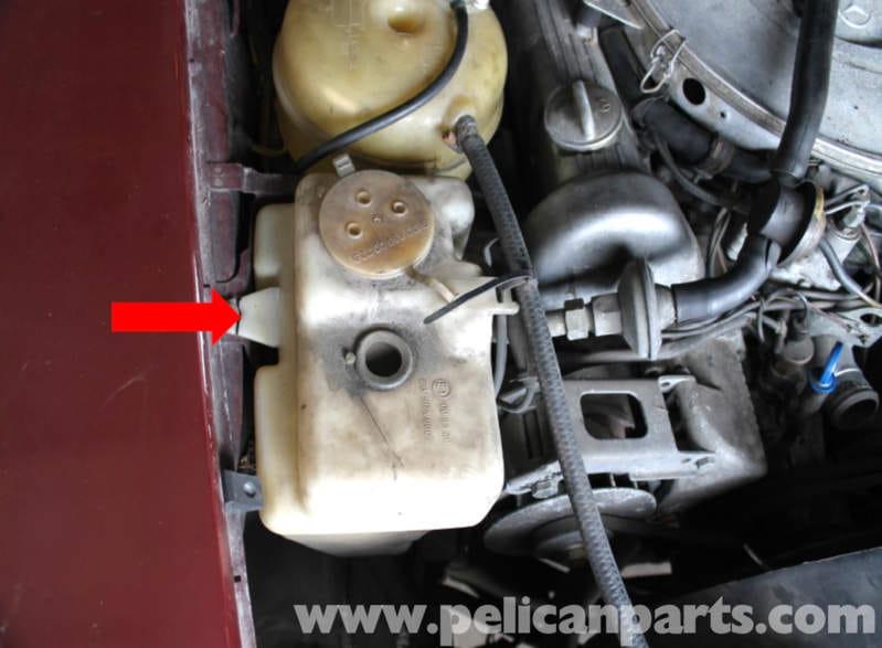 Engine Coolant Low >> Mercedes-Benz R107 Windshield Fluid Tank Replacement | 1972-1986 - 450SL, 380SL, 500SL, 560SL ...