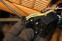 After the steering wheel has been removed, the combination switch can be isolated in order to free the electrical leads.